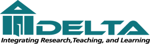 "The Delta logo is in teal and depicts a three-pillared ""house"" with an open door"